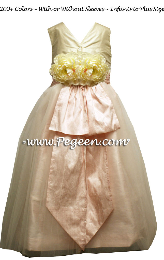 Baby pink junior bridesmaid dress style 313 with V-Back by Pegeen