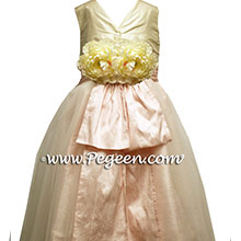 BISQUE AND BABY PINK flower girl dresses