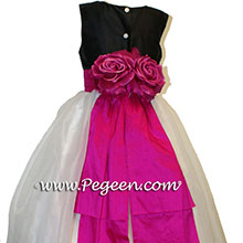 Bright hot pink (boing) with black infant flower girl dresses