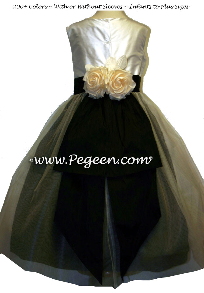 New Ivory tulle and bodice and Black Flower Girl Dress with Bustle and Back Flowers