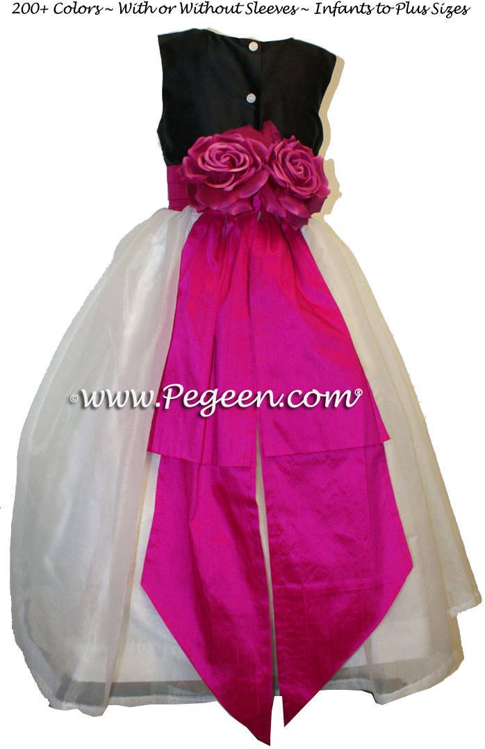 Hot Pink (Boing) and Black Flower Girl Dress with Bustle and Back Flowers