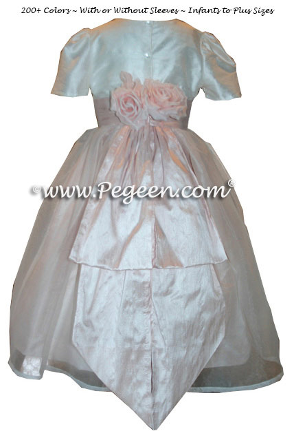 Blush pink and New Ivory Silk Flower Girl Dress with Bustle and Back Flowers