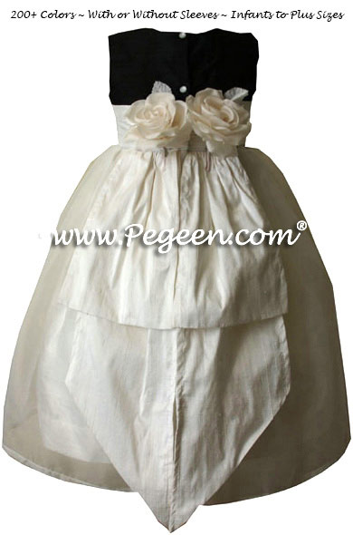 Black and New Ivory Silk Flower Girl Dress with Bustle and Back Flowers