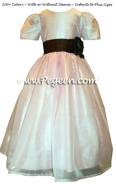 Ivory, Petal Pink and Semi-Sweet brown silk and organza custom flower girl dresses by Pegeen.com