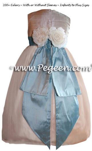 Silk organza flower girl dress in Toffee (champagne) and Caribbean Blue style 313