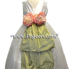 ivory and green flower girl dresses