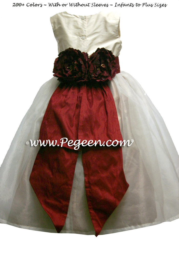 Silk organza flower girl dress in gold, cranberry and bisque style 313