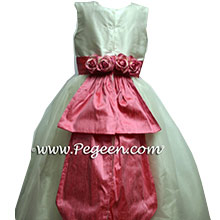 Gumdrop pink and ivory flower girl dresses