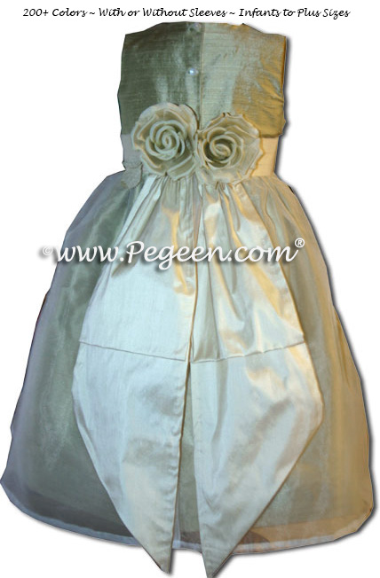 Silk organza flower girl dress in Harvest (celery) green and buttercreme style 313