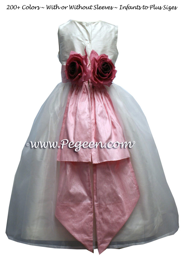 Hibiscus pink and white silk flower girl dresses with back bustle and flowers