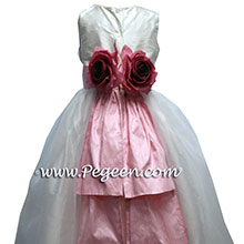 Hibiscus Pink & New IVory Pink silk flower girl dresses