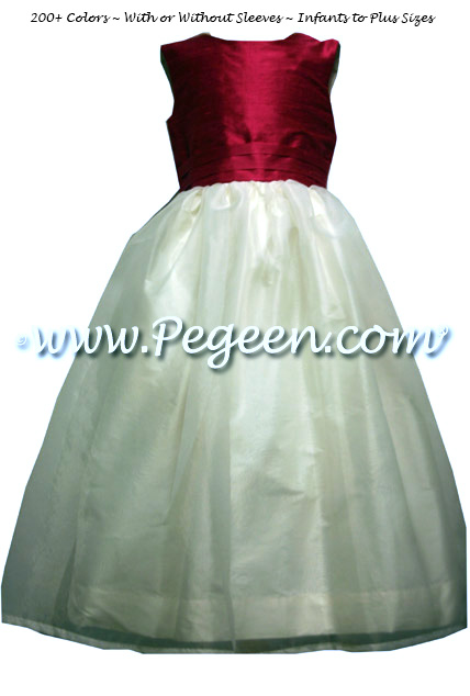 Lipstick pink and new ivory silk and organza Flower Girl Dress Style 313