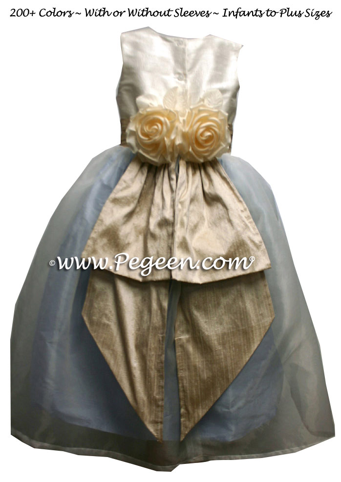 Light Gold, French Blue and New Ivory Silk Flower Girl Dress with Bustle and Back Flowers