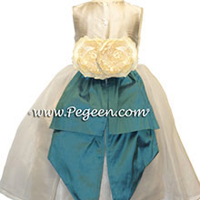 TEAL AND IVORY ORGANZA flower girl dresses