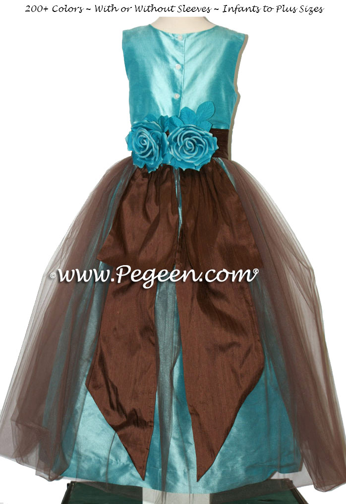 Silk organza flower girl dress in Tiffany Blue and Chocolate Brown with Brown tulle