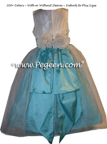 Tiffany Blue and New Ivory Silk Flower Girl Dress with Bustle and Back Flowers