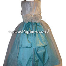 CUSTOM TIFFANY BLUE FLOWER GIRL DRESSES