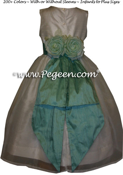 Silk organza flower girl dress in Aqua (waterfall) and white Pegeen Classic Style 313