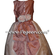 PINK AND RUM PINK SILK ORGANZA FLOWER GIRL DRESSES