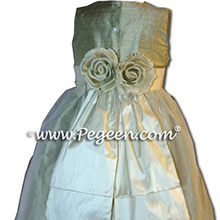 CUSTOM  CELERY AND BUTTERCREME FLOWER GIRL DRESSES