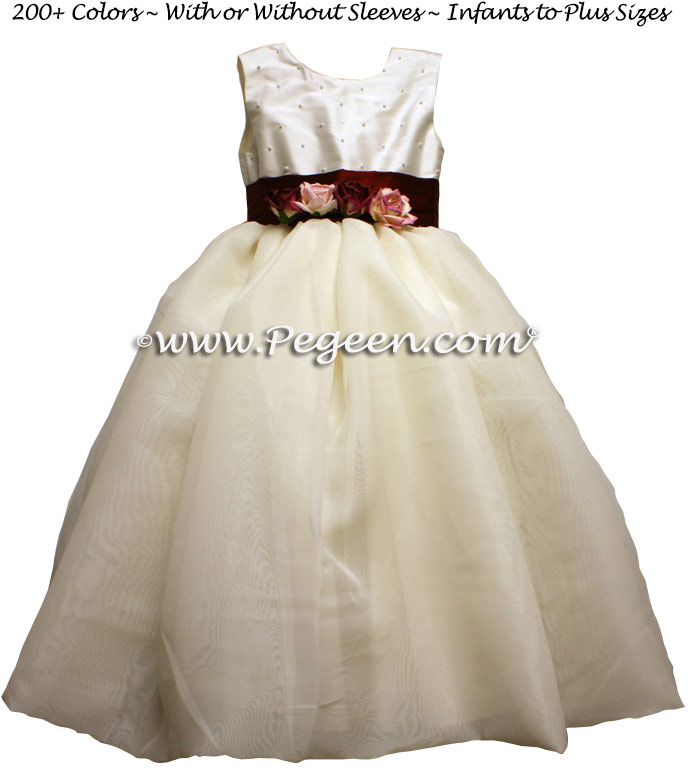 Silk organza flower girl dress in Burgundy and New Ivory Pegeen Classic Style 355