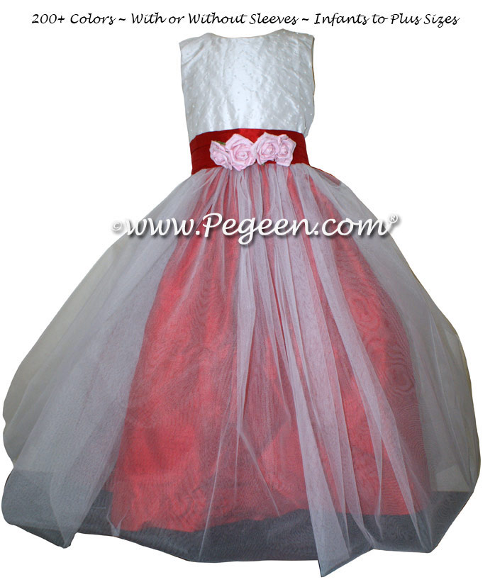 Christmas Red And New Ivory Flower Girl Dresses In Tulle And Pearls