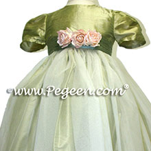 HARVEST GREEN TULLE FLOWER GIRL DRESSES