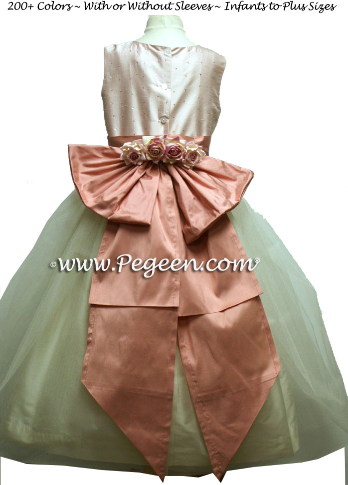 PINK AND IVORY SILK ORGANZA FLOWER GIRL DRESSES WITH SEQUINS BY PEGEEN