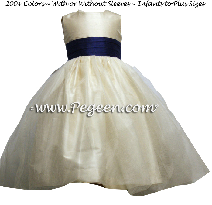 Bisque and Navy tulle flower girl dresses from Pegeen Classics