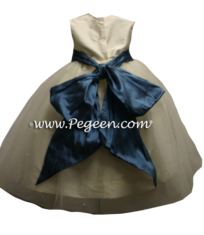 Arial Blue and New Ivory silk and tulle flower girl dresses style 356