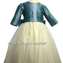 Ivory and Adriatic Teal flower girl dresses
