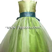apple green, adriatic and summer green  flower girl dresses