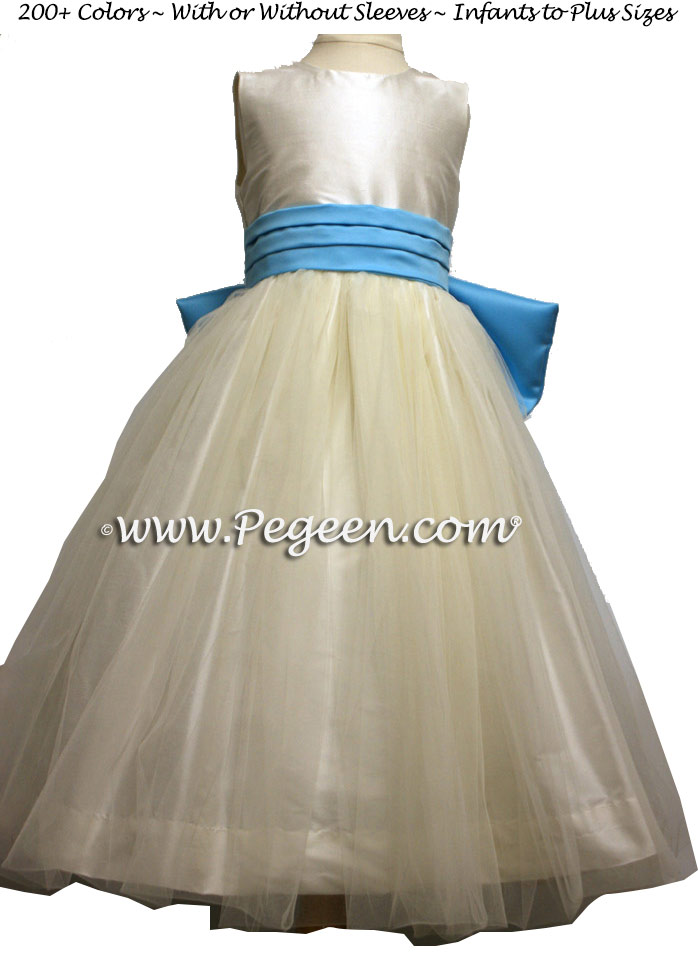 New Ivory and Bahama Breeze blue silk and tulle flower girl dress to match Belsoie Bridesmaids