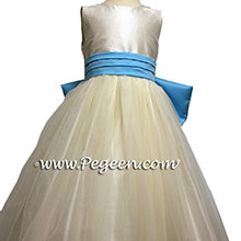 IVORY TULLE and  BAHAMA BREEZE FLOWER GIRL DRESSES