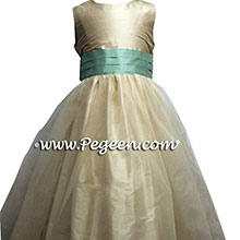 Ivory and Aqualine tulle flower girl dresses