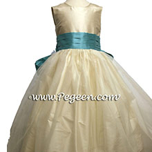 Butercreme and tiffany blue flower girl dress