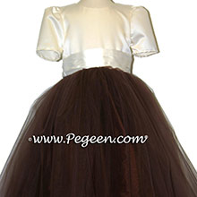 chocolate brown tulle ballerina silk flower girl dresses