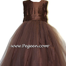 chocolate brown silk and brown tulle flower girl dresses