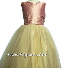 Pink and champagne flower girl dresses