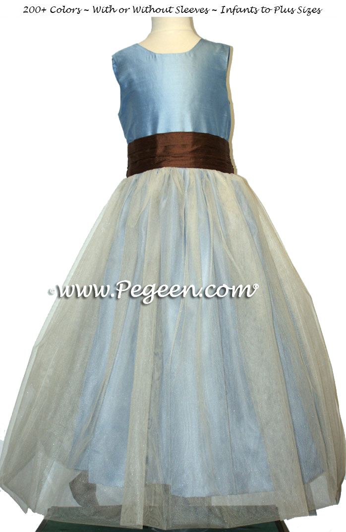 French blue and chocolate sash with ivory tulle flower girl dresses from Pegeen Classics
