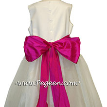fuschia pink and white tulle flower girl dresses