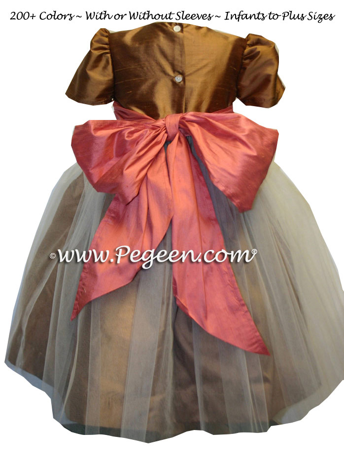GINGER AND SHADES OF BURNT ORANGE SILK TULLE DRESS STYLE 356