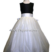 BLACK AND IVORY tulle flower girl dresses