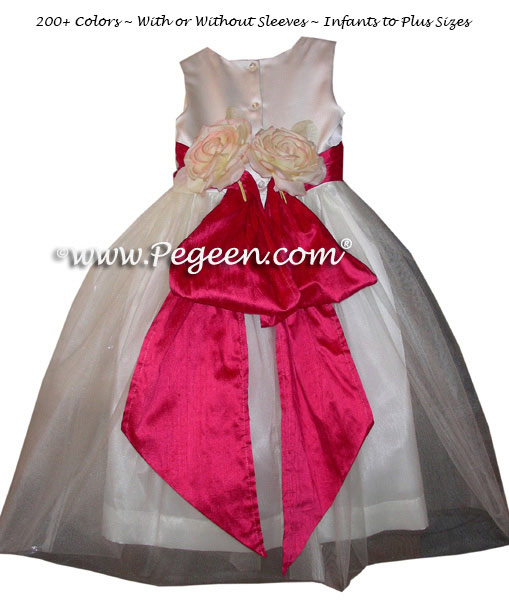 Cerise Pink and White Satin Custom Flower Girl Dresses Style 313