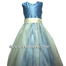 blue and ivory tulle jr bridesmaids dresses