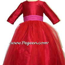 Magenta, Poppy Red and tulle flower girl dresses