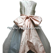 IVORY TULLE WITH PINK AND BLUE FLOWER GIRL DRESSES