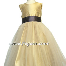 PUREGOLD AND CHOCOALTE flower girl dresses