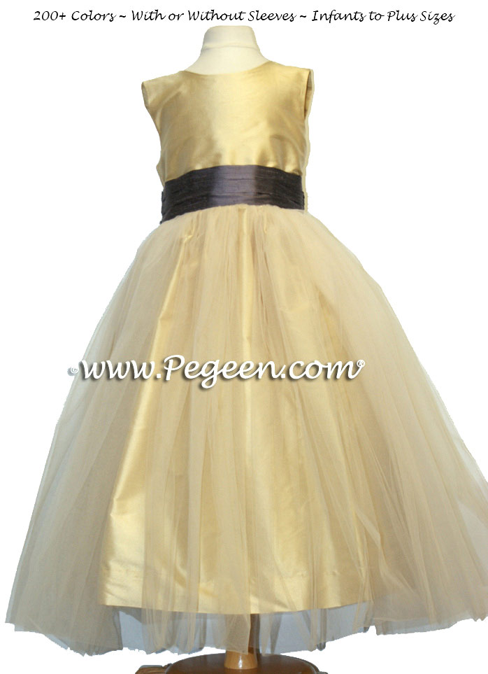 Pure Gold and Iris Lilac silk and tulle flower girl dresses in Pegeen Classic Style 356