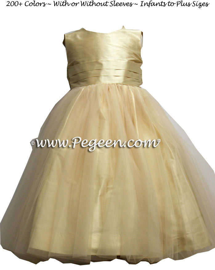 Pure Gold and Champagne tulle flower girl dresses style 356